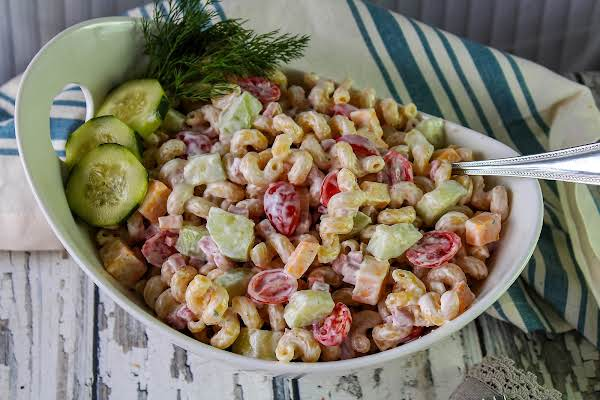 A Big Bowl Of Ranch Pasta Salad.