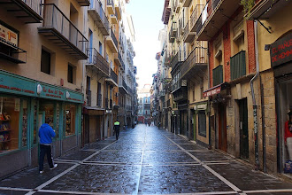 Photo: Estafeta Street in Pamplona where the running of the bulls takes place every July.