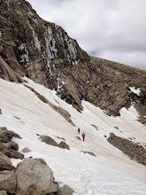 Photo: Dangerous narrow snow trail toward Chasm Lake