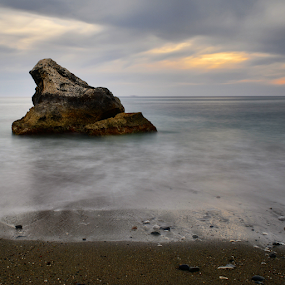 Long exposure in Cyprus by Anastasis Agathokleous - Landscapes Waterscapes ( waves, rocks, waterscape, sunshine, sunset, cloudscape, long exposure, cyprus, clouds, sun, wave,  )