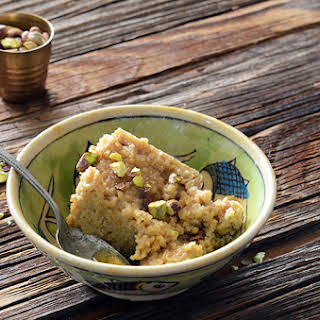 Middle Eastern Tahini, Date, and Cardamom Bulgur Wheat Breakfast Bake.