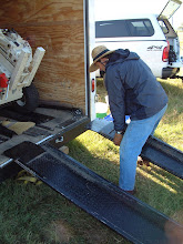 Photo: Setting the ramps to unload.  At one of the Mission Patale archaeology field schools run by Dr. Rochelle Marrinan.  (Leon County)
