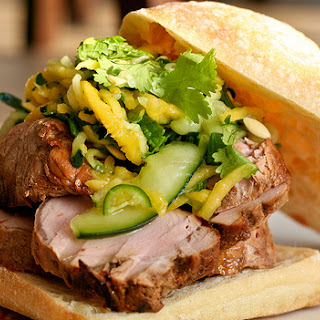 Pork Sandwich w/Spicy Mango Cucumber Slaw