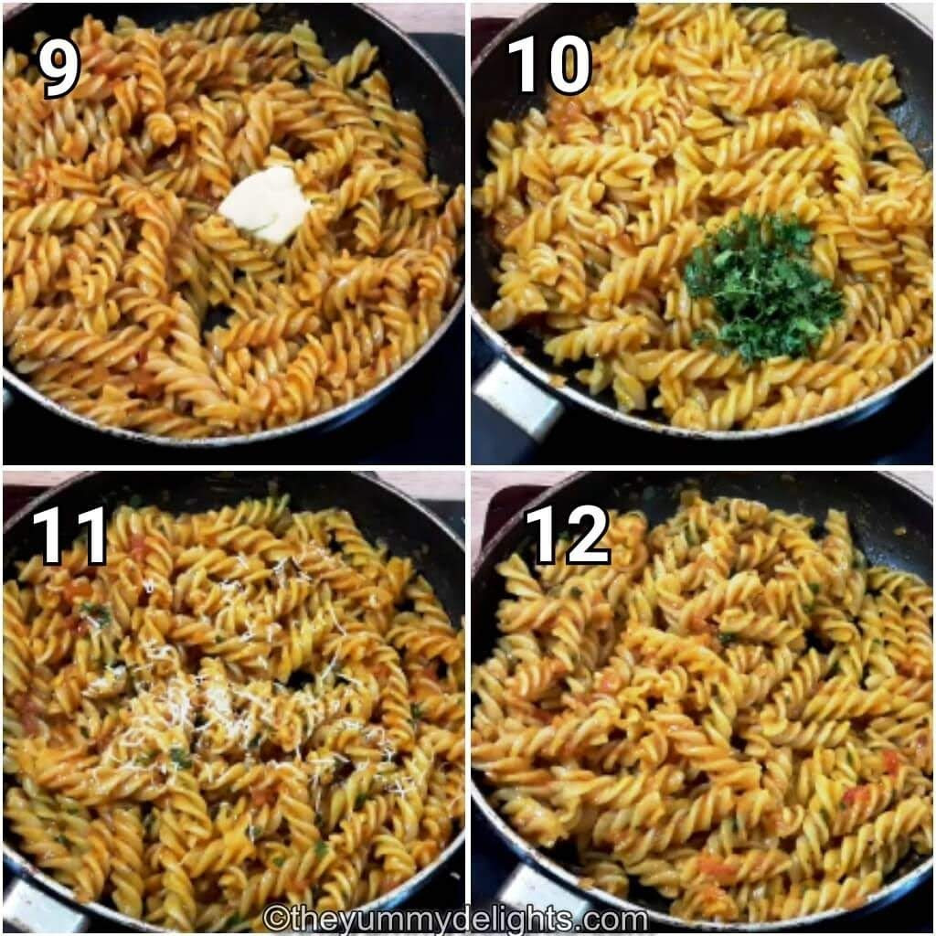 Tomato pasta finished with parsley, olive oil & parmesan cheese