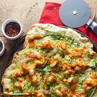 Shrimp and Asparagus Pizza with Romesco Sauce.