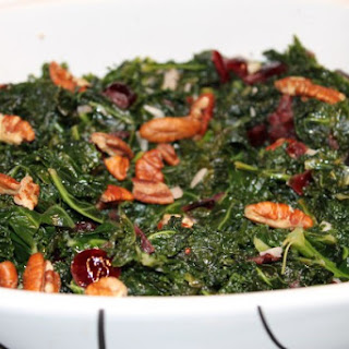 Kale with Cranberries and Toasted Pecans