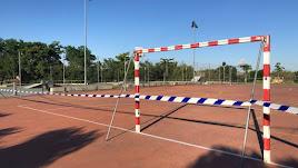Campo de fútbol precintado en Tudela (Navarra)