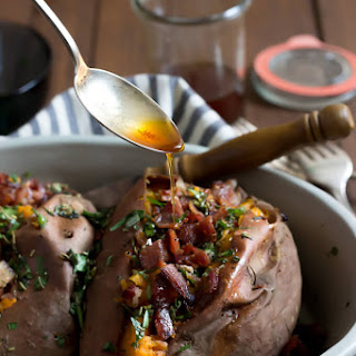 Baked Sweet Potatoes with Brown Butter, Bacon, and Herbs