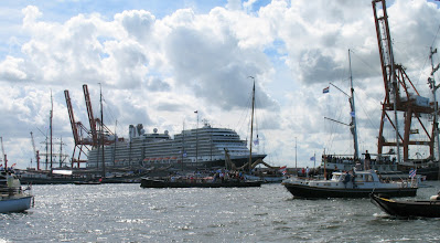 Photo: De Eurodam als drijvende tribune in de containerhaven.