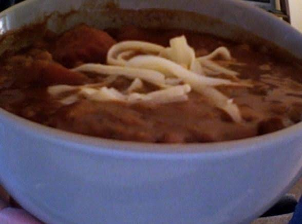 Hot & Hearty Chili Bowl. Omit Cheese To Remain Strictly Vegan.