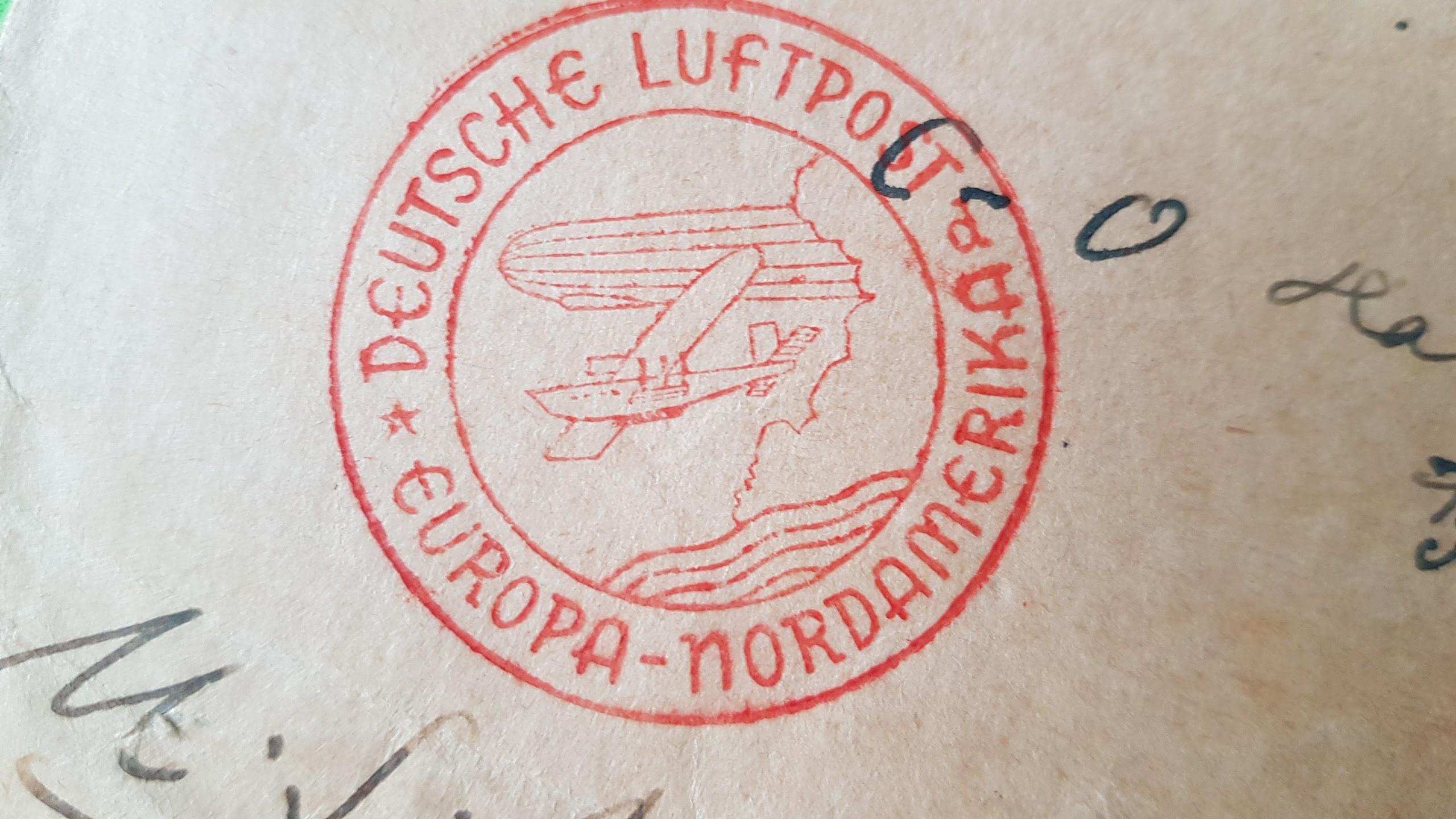 Luftschiff-Brief von 1936 von Rathenow nach New York City