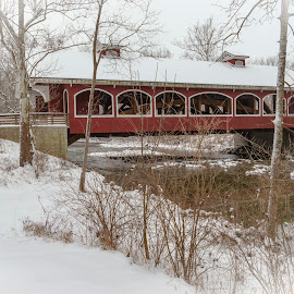 Winter Covered Bridge by John Berry - Buildings & Architecture Bridges & Suspended Structures