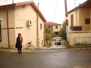 Photo: Maria is walking in the rain at Lefkara