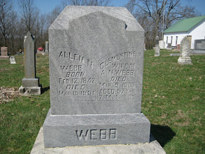 Photo: Allen Nimrod Webb, Civil War veteran from 1862 to 1865. He was Leigh and Linda's great, great grandfather. This side of the head stone faces southeast and does not get the harshest weather, so the lettering has remained clear.