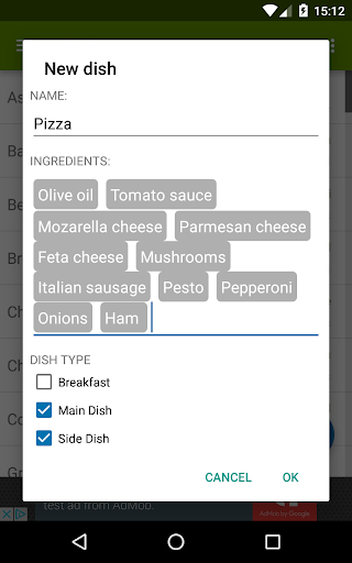 Easy Menu Planner Screenshot