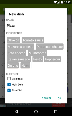 Easy Menu Planner - screenshot