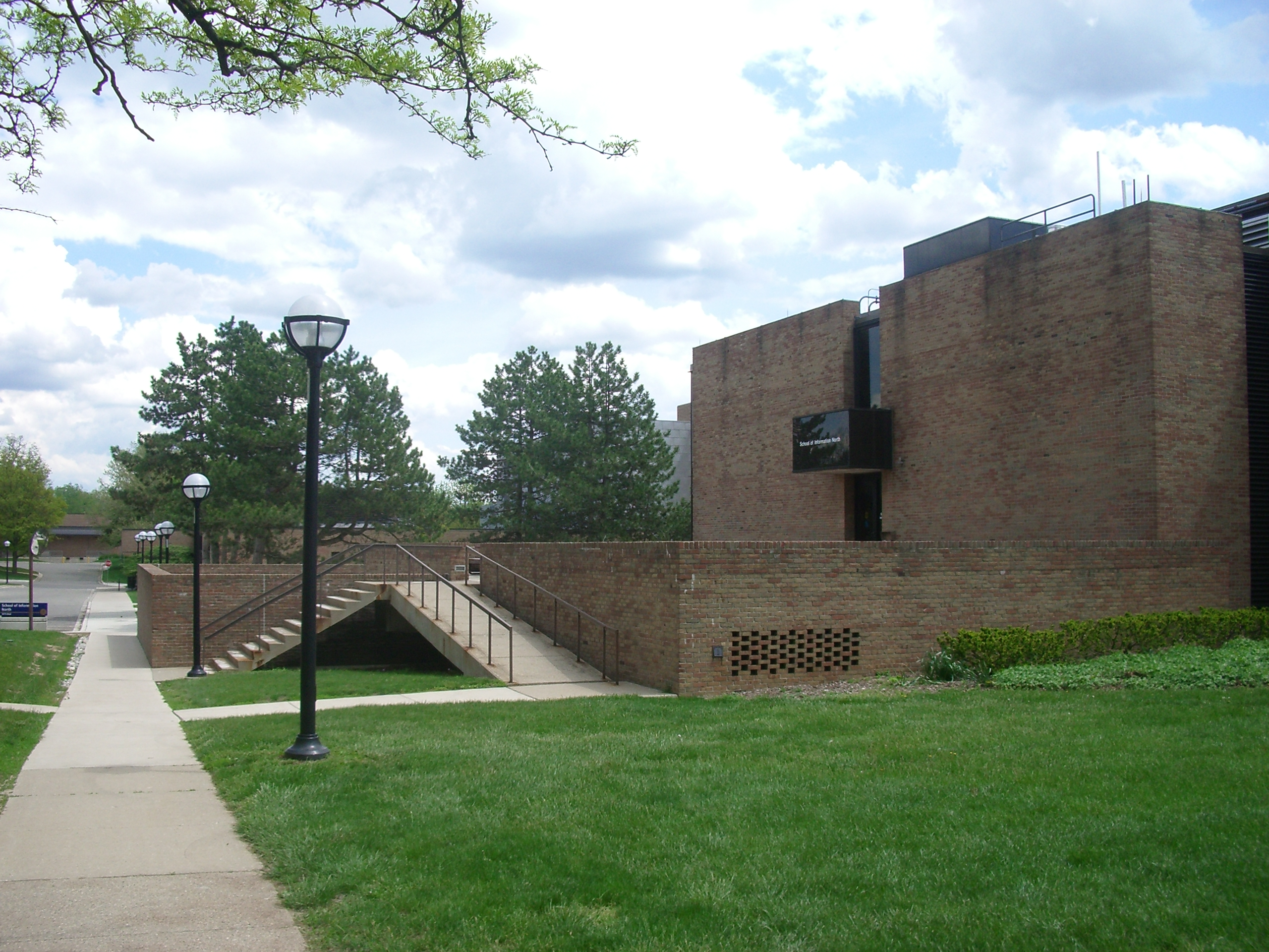 Photo: Main entrance, north side former Computing Center Building (now School of Information North), 2008, North Campus, University of Michigan, Ann Arbor, Michigan, USA