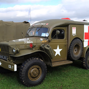 Popeye the Dodge by DJ Cockburn - Transportation Automobiles ( medical, britain, world war two, truck, emergency, headcorn, vehicle, ashford, kent, american truck, uk, antique, england, american army, historic, living history, display, heritage, history, transport, ambulance, 2018 combined ops military & air show, transportation, lorry, dodge wc, red cross, second world war, united states army, vintage, us army,  )
