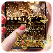 Gold Glitter Butterfly Keyboard