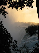 Photo: Sunset looking along the edge of the falls