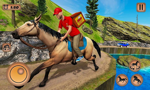 Mounted Horse Riding Pizza Guy: Food Delivery Game android2mod screenshots 4