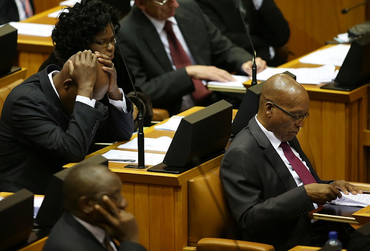 Jacob Zuma, far right, in Parliament.    Picture: SUNDAY TIMES