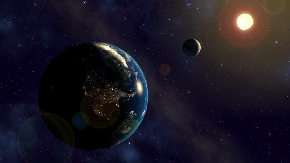 Solar eclipses are possible on Earth, and occur whenever the Moon aligns with the Earth-Sun plane... [+] during a new Moon. This same principle applies to any planet with a moon.