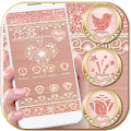 Rose Gold Launcher Diamond Heart Theme download