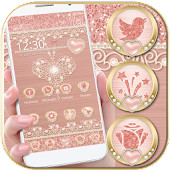 Rose Gold Launcher Diamond Heart Theme