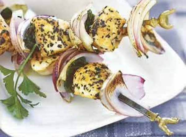 Grilled Chicken, Red Onion, And Mint Kebabs Recipe