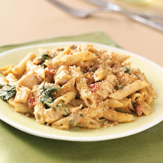 Pesto-Chicken Penne Casseroles.