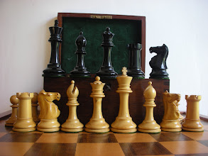 Photo: CH216: Eng; Ayres; K=3.9in, base 1.65in; weighted & clothed, c1900.   This particular set was used by the previous owner in his simultaneous games in the 1970's against Grandmasters Korchnoi, Hort and Szabo. A beautiful set with a history that I am very pleased to own. The pictures here do not do this set justice.   A larger - 4.4in - set was made, although I do not have one. A fortunate fellow collector does - see http://dorland-chess.com/pageID_9405159.html The set is of a similarly high quality, with identical characteristics to this 3.9in version. Apart from the extra height, there is no discernible difference between the two sets.