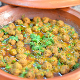 Moroccan Kefta Tagine with Lemon and Saffron Butter Sauce.