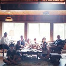 Photo: title: Joan, Sarah, Libby+Mary Devlin, Ed+Clio Bruno, Mo, Sabir+Anya Cunningham, Damariscotta, Maine date: 2014 relationship: friends, art, met through old school Portland years known: 20-25