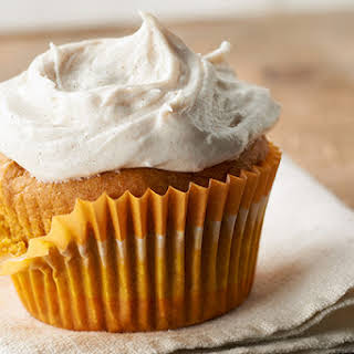 Pumpkin Cupcakes with Cinnamon-Cream Cheese Frosting.