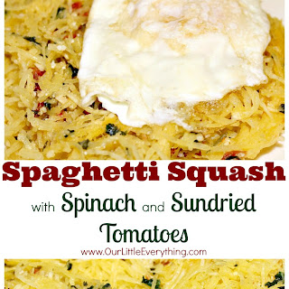 Spaghetti Squash with Spinach and Sundried Tomatoes.