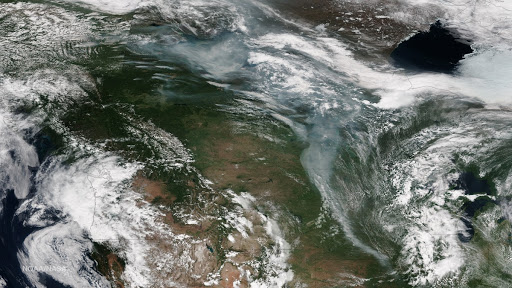 Smoke from Alaska and Canada Fires Dives into the Continental U.S.