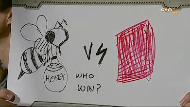 Photo: 벌 vs 때수건? 끈끈이?