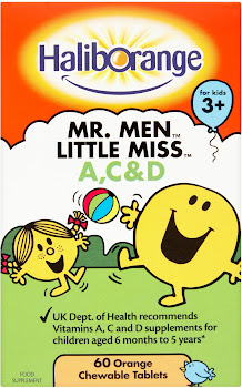 Haliborange Mr. Men Little Miss Vitamins A C and D - Orange, 60 Chewable Tablets