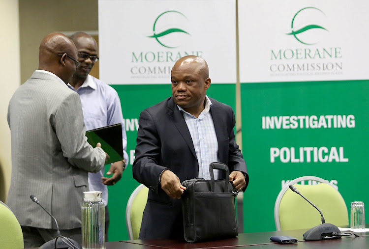 ANC deputy secretary Mluleki Ndobe, ANC chairperson Sihle Zikalala and ANC general secretary Super Zuma at the Moerane Commission.