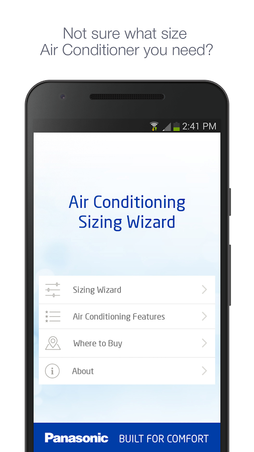 Panasonic Aircon Sizing Wizard- screenshot