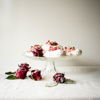Persian Meringue Nests with Rhubarb Curd