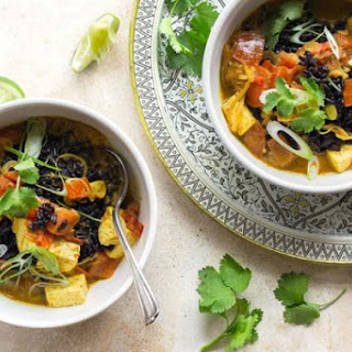 Madras Coconut Curry With Tofu, Black Rice, And Lime.