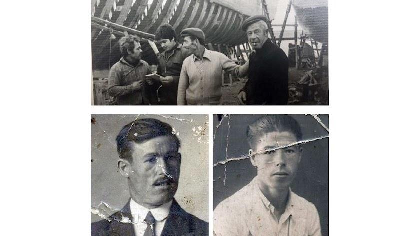 Arriba el maestro Enrique en el astillero con su hermano, su hijo y un armador. Debajo Rafael y Enrique López.