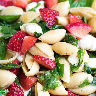Strawberry Spinach Caprese Pasta Salad.