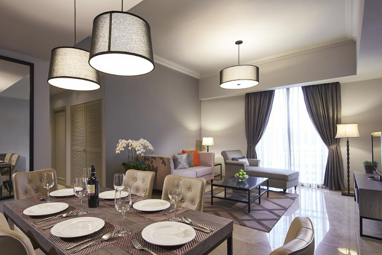 Dining area at Penang Rd Serviced Apartments, Orchard Road