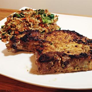 Ginger & Mustard Marinated Pork Chops w/ Swiss Chard & Rice