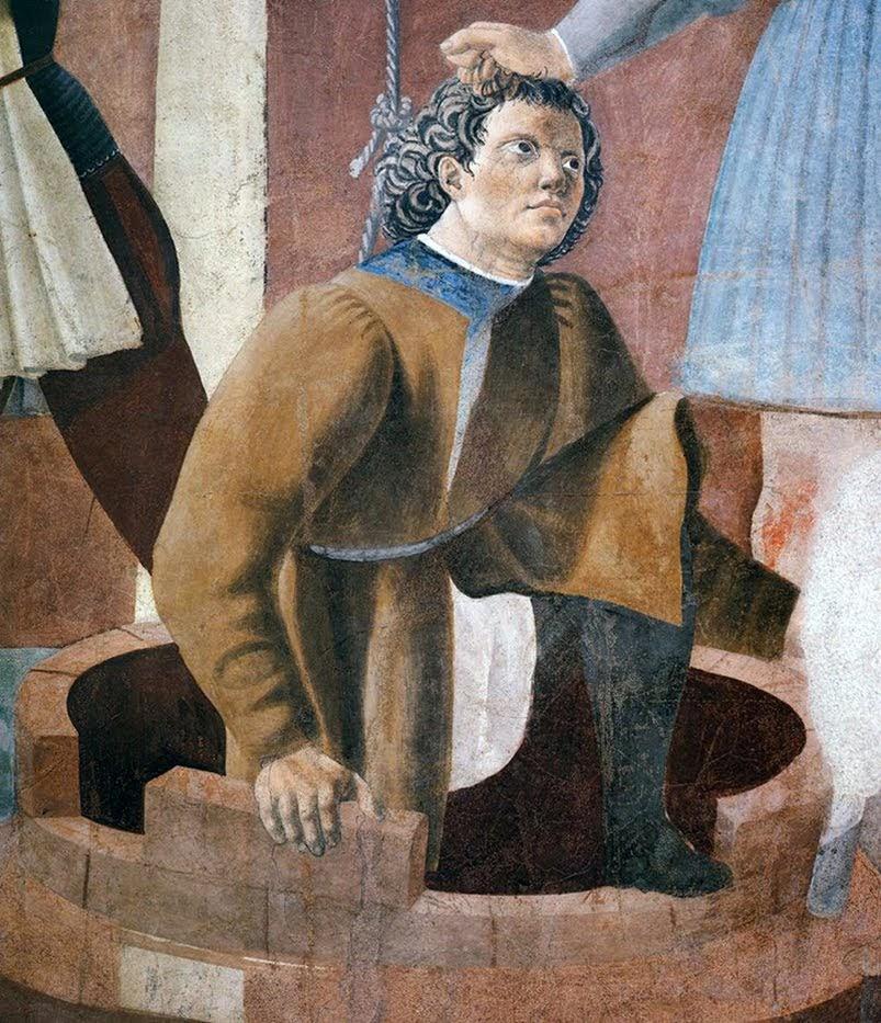 Piero della Francesca, Le Storie della Vera Croce, Tortura dell'ebreo (particolare l'ebreo Giuda, l'unico a sapere dove erano state nascoste le tre croci di Gesù Cristo), Basilica di San Francesco, Arezzo