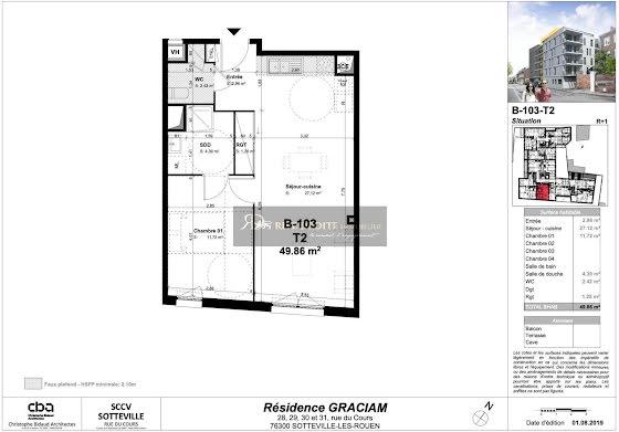 Vente appartement 2 pièces 49,86 m2