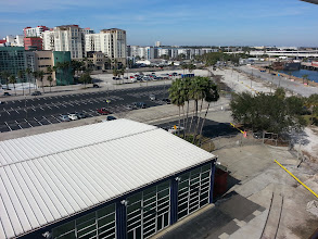 Photo: Our parking spot just to the left of the palm trees in the center of the photo, taken from our verandah room 055 on the Navigation deck.